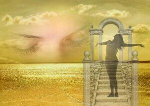 happy girl, stair case, gate, water, sunrise, closed eyes in the background