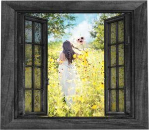 a girl in a white dress holding three sunflowers running in a field of sunflowers through an open rustic window