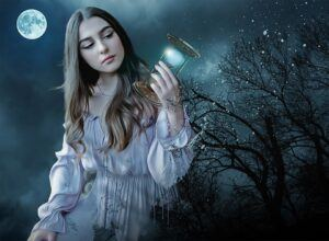 young girl in white dress, holding an hour glass, night time, full moon, big tree in the background