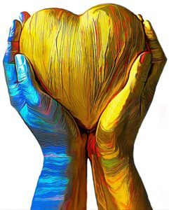 paining of two hands holding a heart