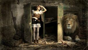 girl in doorway looking at a destroyed room lion hiding behind a wall